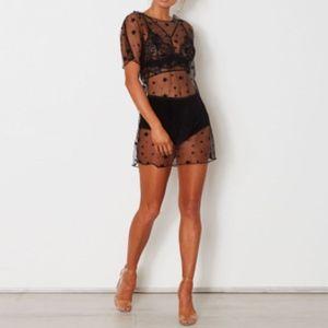 Dresses & Skirts - Black Star Mesh Short Sleeve Mini Dress